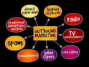 picture of outbound marketing examples. radio, tv advertisements cold-calling spam direct paper mail